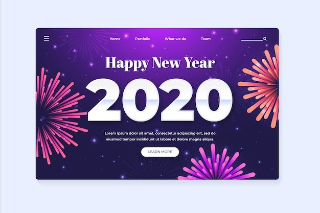 Nowy rok strona docelowa w płaskiej konstrukcji