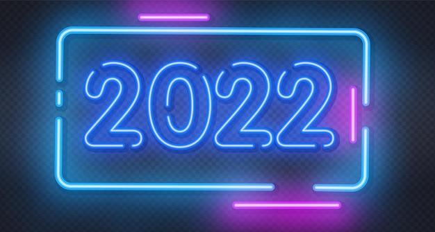 Nowy rok świecący niebieski neon szyld na ścianie z cegły