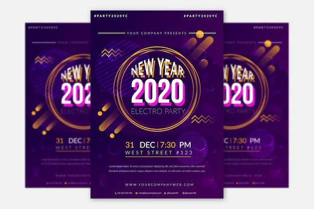 Nowy rok szablon ulotki płaskie party