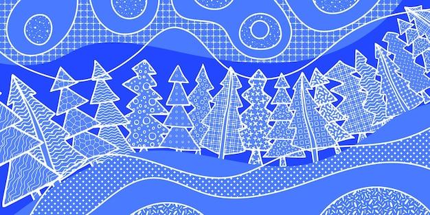 Nowy rok tło, stylizowany las, różne tekstury