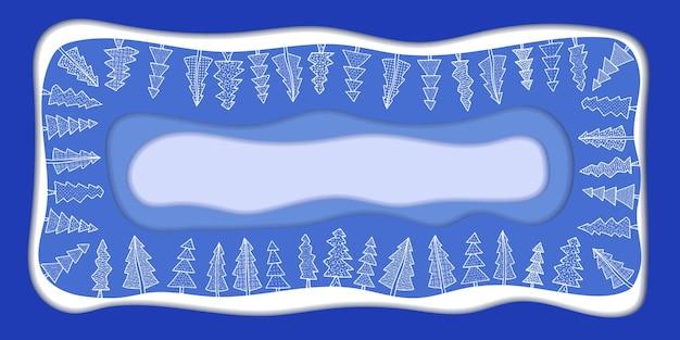 Nowy rok tło wektor, rama, stylizowane jodły