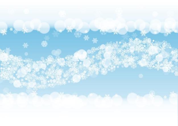 Nowy rok tło z białymi mroźnymi płatkami śniegu. poziome tło śniegu. zimowe tło nowego roku na wakacje banery, karty. padający śnieg z bokeh i płatkami na specjalne oferty i wyprzedaże.
