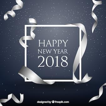 Nowy rok tło z realistyczną srebrną wstążką