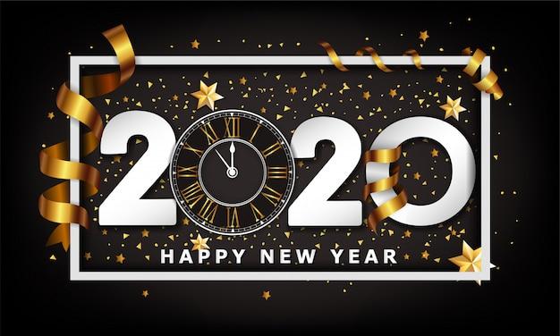 Nowy rok typograficzne kreatywne tło 2020 z zegarem
