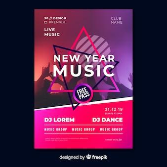 Nowy rok ulotki szablon strony muzyki