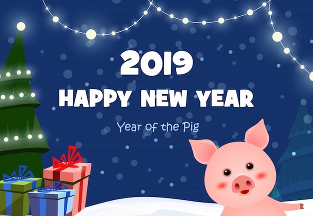 Nowy rok uroczysty projekt plakatu z ładny świnka