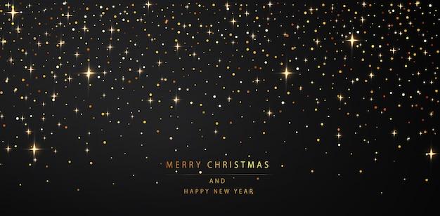 Nowy rok w tle. połyskujące złote drobinki na ciemnym tle. ilustracja wektorowa pozdrowienia wakacje.