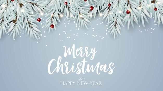 Nowy rok wakacje i wesołych świąt bożego narodzenia tło z jodłą.
