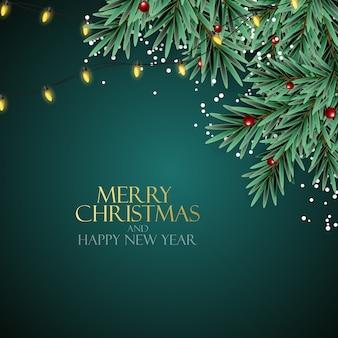 Nowy rok wakacje i wesołych świąt bożego narodzenia tło z realistyczną choinką. ilustracja