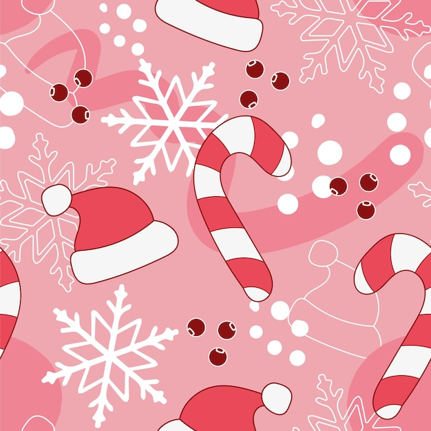 Nowy rok wektor wzór w kolorach różowym i czerwonym.