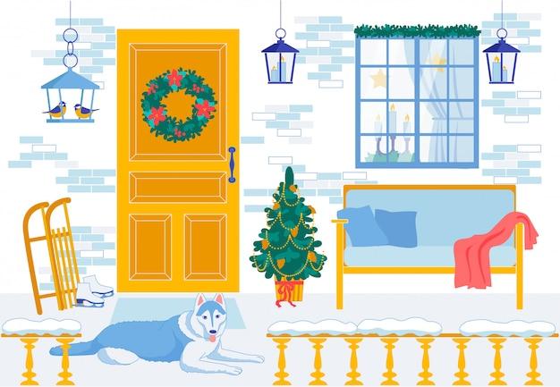 Nowy rok wnętrza dekoracyjne kreskówka