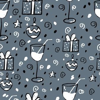 Nowy rok wzór na szarym tle. czarny, biały, szary.