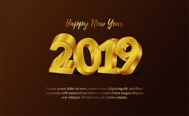 Nowy rok z 3d złotą liczbą