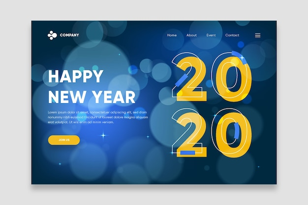Nowy rok zamazana strona docelowa