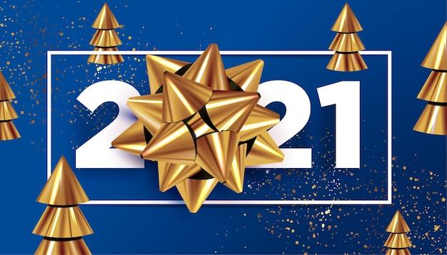 Nowy rok ze złotą kokardą otoczony dekoracją świąteczną na klasycznym niebieskim tle