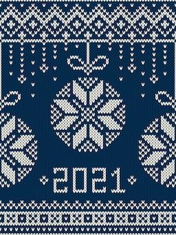 Nowy rok. zimowe wakacje wzór z dzianiny
