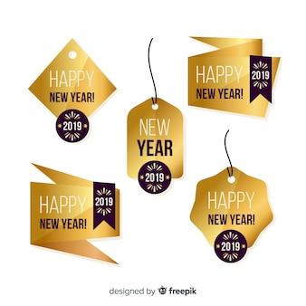 Nowy rok złote odznaki kolekcja