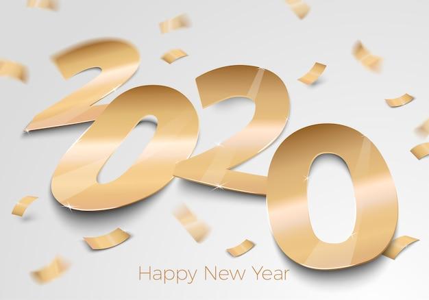Nowy rok złoty papier foliowy numer 2020 r. na powierzchni