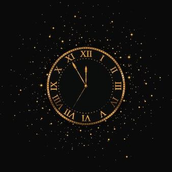 Nowy rok złoty zegar. wesołych świąt.