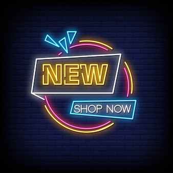 Nowy sklep teraz neonowe znaki styl tekst wektor