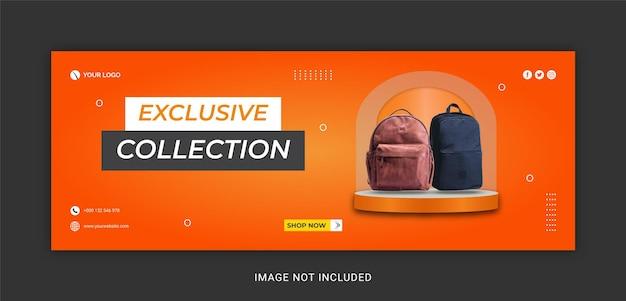 Nowy specjalny szablon ekskluzywnej kolekcji toreb na facebooka
