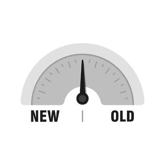 Nowy stary miernik pomiarowy. ilustracja wektorowa wskaźnika. miernik z czarną strzałką na białym tle.