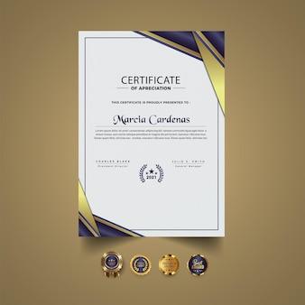 Nowy szablon osiągnięcia certyfikatu premium