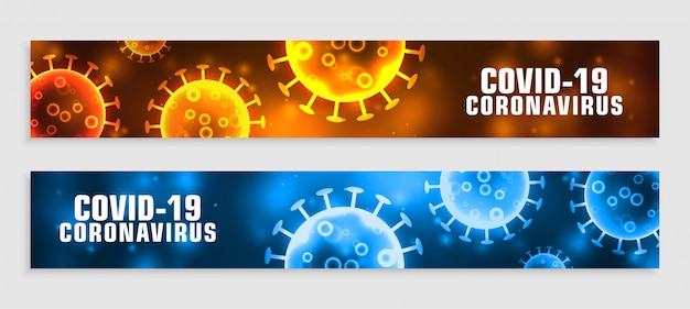 Nowy sztandar koronawirusa covid19 w dwóch kolorach