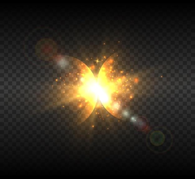 Nowy widok gwiazdy jasne słońce z kosmosu.