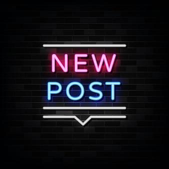 Nowy znak neonowy post, szablon