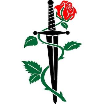 Nóż i rose vector