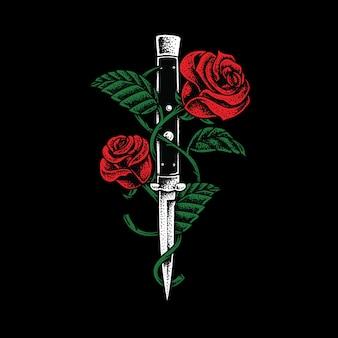 Nóż i róże ilustracja art design