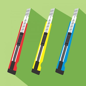 Nóż kolorowy ikona płaska konstrukcja