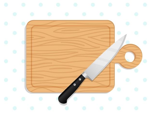 Nóż szefa kuchni na desce do krojenia. drewniane deski do krojenia ilustracja, drewno kuchenne posiekane miejsce na chleb, warzywa lub owoce przygotowanie posiłku widok z góry
