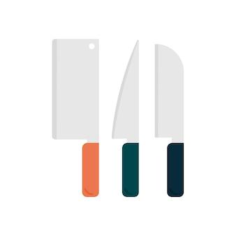 Nóż ustawić naczynia kuchenne graficzny