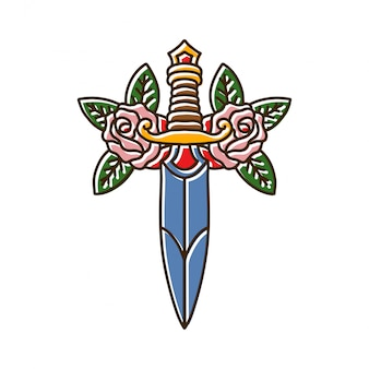 Nóż z rose tattoo
