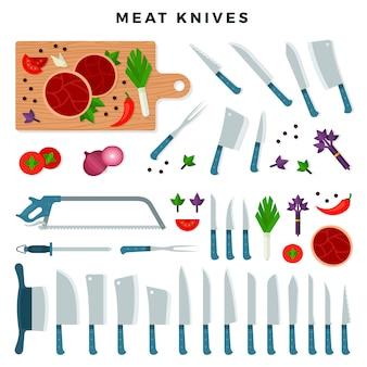 Noże do cięcia mięsa, zestaw. kolekcja do sklepu mięsnego. ilustracja wektorowa, na białym tle