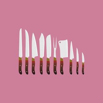 Noże kolekcji tle