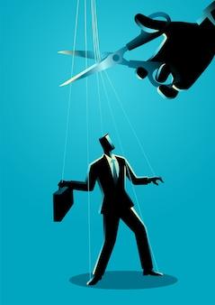 Nożyce do cięcia sznurków przyczepionych do biznesmena