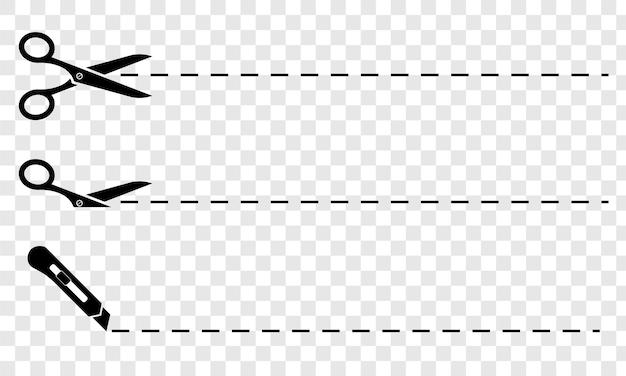 Nożyce. zestaw czarnych nożyczek z liniami cięcia