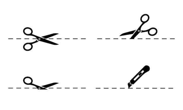 Nożyce. zestaw nożyczek i noża biurowego z liniami cięcia