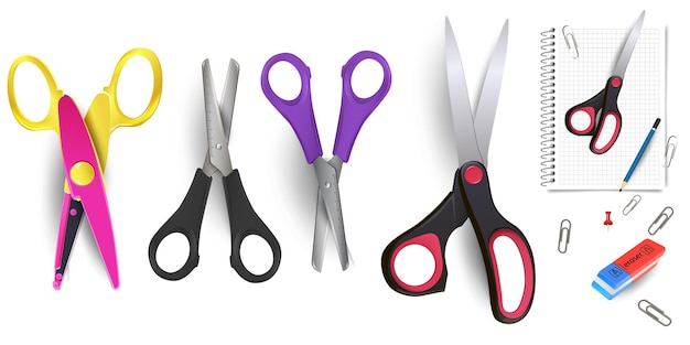 Nożyczki na białym tle na białym tle. nożyczki to ręczne narzędzia tnące. materiały biurowe.