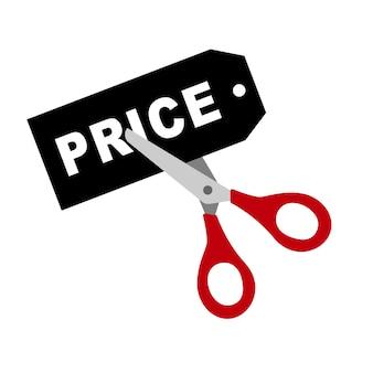Nożyczki obniżają cenę etykiety. ilustracja wektorowa