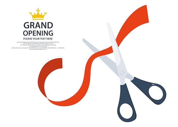 Nożyczki przecinają czerwoną wstążkę. ikona otwarcia dotacji. wstążka cięcia biznes start-up banner koncepcja. ilustracja wektorowa
