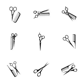 Nożyczki wektor grzebień. prosta ilustracja grzebienia nożycowego, edytowalne elementy, może być używana w projektowaniu logo