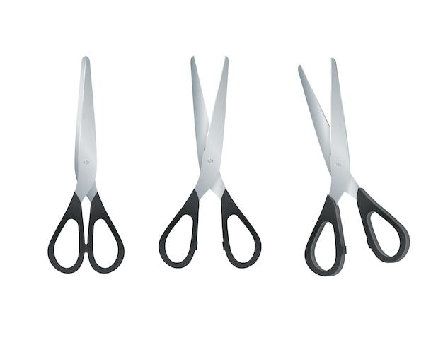 Nożyczki z czarnymi plastikowymi uchwytami. otwarte i zamknięte nożyczki na białym tle. wektor