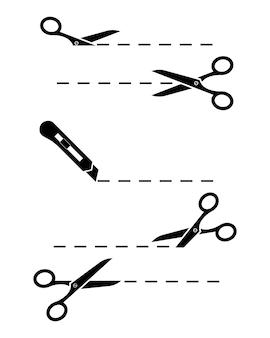 Nożyczki.zestaw nożyczek i noża biurowego z liniami cięcia. nożyczki z kuponem na linie cięcia. ikona cięcia nożycowego. ilustracja wektorowa