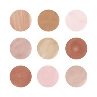 Nude, różowo-brązowa historia podkreśla okładki z akwarelową teksturą kształty kół dla logo