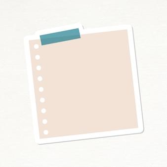 Nude różowy dziurkowany papier notatkowy wektor naklejki dziennika