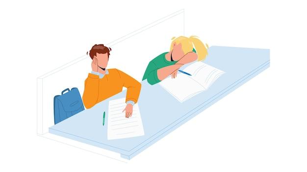 Nudny uczeń siedzi przy stole w klasie wektor. śpiąca dziewczyna studentka śpi na biurku, drzemiąc i słuchając wykładu. postacie nudne edukacja czas w ilustracja kreskówka płaski uniwersytet